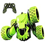 Joyjam RC Stunt Car Toys for 6-12 Year Old Boys 4WD Off Road Truck 2.4Ghz Rechargeable Remote Control Car Double Sided 360 Degree Rotating Green Christmas Birthday Gifts for Kids