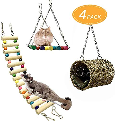 ZMS Pet Hammock Hamster Hanging Toy, Set House Hanging Bed Cage Toys for Small Animal Sugar Glider Squirrel Chinchilla Hamster Rat Playing Sleeping (3 Pack)