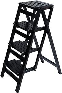 ZHJBD Furniture Stool Folding Ladder Wood for Adult Stool Seat Ladder-Shaped Plant Stand for Kitchen Living Room Bedroom Balcony Garden Shoe Rack Black