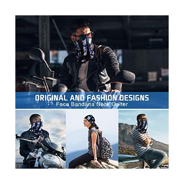 VUWISH Cooling Face Bandana Neck Gaiter, 3 PCS Anti Dust Wind UV Sun Headband, Reusable Headwear Balaclava for Men Women Outdoor Sports Blue