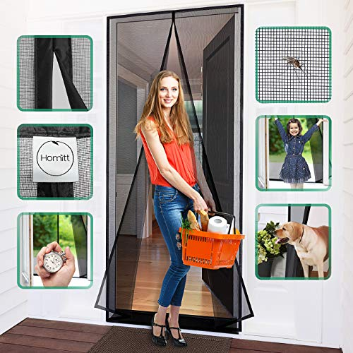 """[Upgraded Version]Homitt Magnetic Screen Door with Durable Fiberglass Mesh Curtain and Full Frame Hook & Loop Fits Door Size up to 34""""x82"""" Max- Black"""