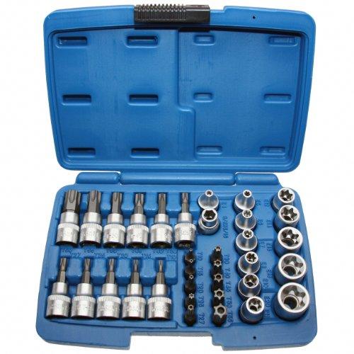Alkan Steckschlüssel-Einsatz E-Profil E4-E20 Nuss für Aussentorx Schrauben + Bit-Sätze T-Profil T10-T60 für Innen-Torx Schrauben mit Stirnloch-Bohrung für Sicherungsstifte (Sicherheits-Bits) 34 tlg.