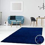 MyShop24h - Alfombra de pelo largo para salón, dormitorio, 120 x 170 cm, color azul