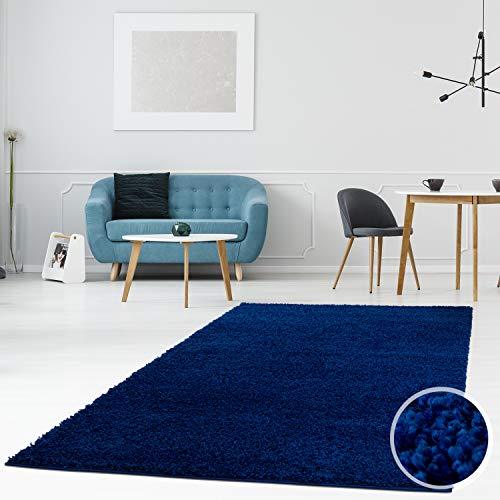 MyShop24h - Tappeto Shaggy a pelo lungo e a tinta unita, moderno, soffice, per soggiorno, camera da letto, 100% polipropilene., Blu, 200 x 290 cm