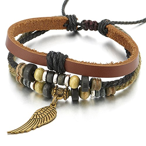 COOLSTEELANDBEYOND Angel Wing Multi-Strand Brown Leather Bracelet for Men Women Tribal Leather Wristband Wrap Bracelet