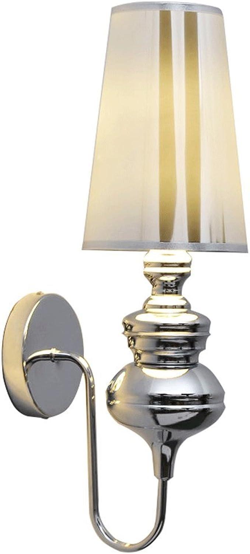 Mobeka Eisen LED Wandleuchte Wohnzimmer Schlafzimmer Nacht Treppe Metall Wandleuchte (Farbe   Chrom)