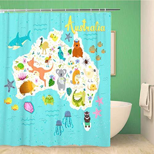 Awowee Decor Duschvorhang Australien Karte süße Tiere Spinnen Papageien Wombat Eidechse Quallen 180 x 180 cm Polyester Stoff wasserdicht Badvorhänge Set mit Haken für Badezimmer
