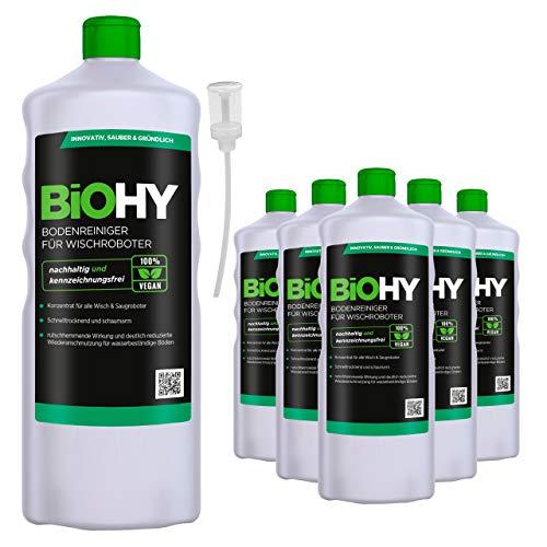 BiOHY Bodenreiniger für Wischroboter (6x1l Flasche) + Dosierer   Konzentrat für alle Wisch & Saugroboter mit Nass-Funktion   nachhaltig & ökologisch