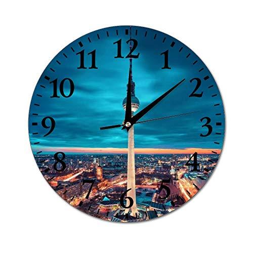 Fhdang Decor Varsovia Polonia Reloj de Pared silencioso sin tictac, Redondo para decoración del hogar, Oficina, Escuela, Reloj de Pared Redondo, fácil de Leer, 25,4 cm