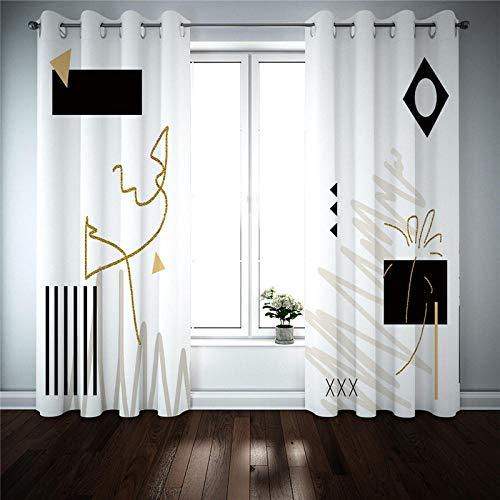 BVWSBGF Cortinas Opacas con Aislamiento térmico Patrón de línea en Blanco y Negro Cortina Termica Aislante Ruido Proteccion Intimidad para Salon Oficina Dormitorio 2 Panel 75x166 cm