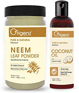 Origenz Premium Hair Care Combo (Neem Powder 100gm + Coconut Oil 100ml)