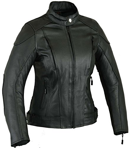 Impact Leder Motorrad Jacke Frauen Damen Schutz Mantel, XL