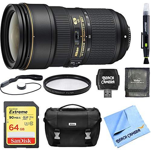Nikon 24-70mm f/2.8E ED VR AF-S NIKKOR Zoom Lens Digital SLR Cameras Bundle with 64GB Memory Card, Camera Case, 82mm...