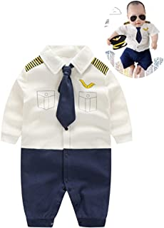 Baby Pilot Boys Halloween Uniform Cosplay Romper Costume Outfit