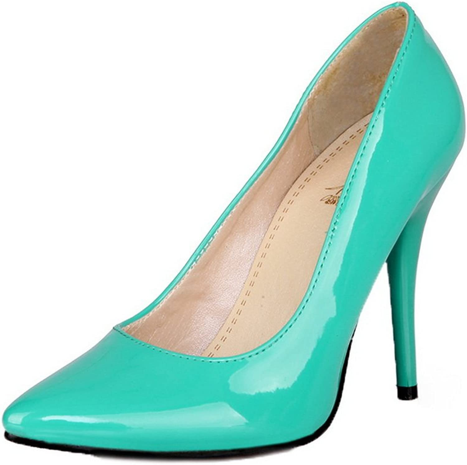 WeenFashion Women's Pull-On Patent Leather Closed-Toe High-Heels Pumps-shoes