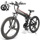 LOKE Electric Bike 26' Electric Folding Bike Folding Ebike with Lithium-Ion Battery,Black