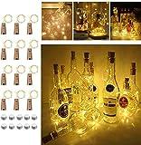 Opard Luces LED para botellas de vino para bodas, fiestas y decoración romántica Pack de 9 Blanco cálido