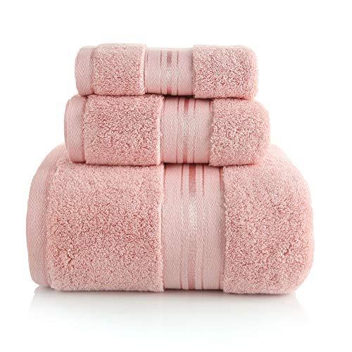 JYJYJ Badetuch Set, 3-Pack - Premium 600 GSM 100% ringgesponnener Baumwolle - Schnell trocken, sehr saugfähig, Soft Feel Handtücher, Perfekt für 800G Super-Absorben,Rosa