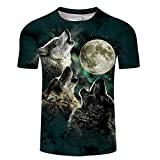 Camiseta Wolf Moon 3D Print Camiseta Hombre Mujer Camisetas Summer Classic Manga Corta O-Cuello Streetwear Tops y Camisetas Asiáticos Tx097