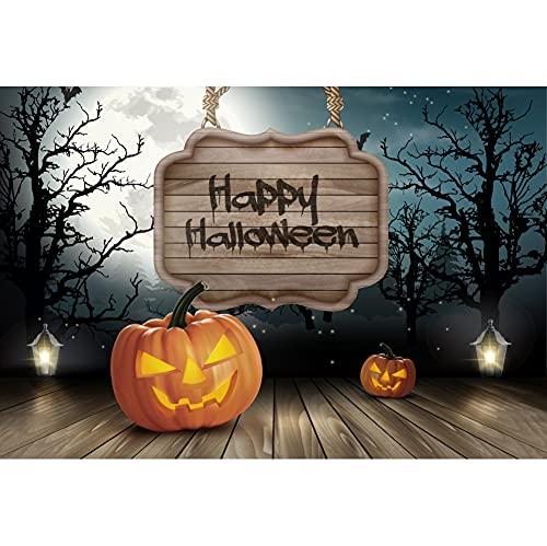 Dashan 2,4 x 1,8 m Pano de fundo de festa de Halloween Feliz Dia das Bruxas Cemitério Sombrio Floresta Lua Cheia, Fantasma, Abóbora, Piso de madeira, Fundo, Festival, Banner Adulto, Crianças, Retrato
