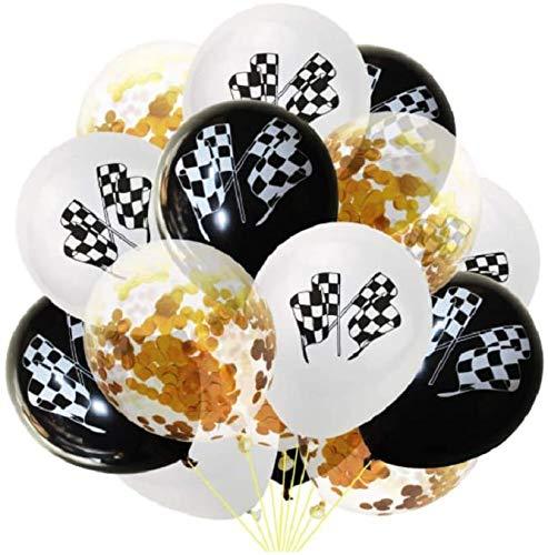 30pcs Checkered Racing Car Balloons Flag Latex Balloons Confetti Balloons for Race Car Themed Birthday Party Decor 12inch - Golden