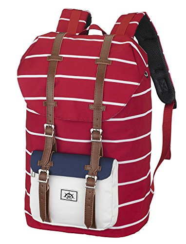 Bear & Goodies Narvik Rucksack, Unisex, für Laptop bis 15 Zoll, als Daypack, für die Schule, Uni, zum Wandern Camping Reisen, für Studenten, als Handgepäck (Rot-Weiß-gestreift)