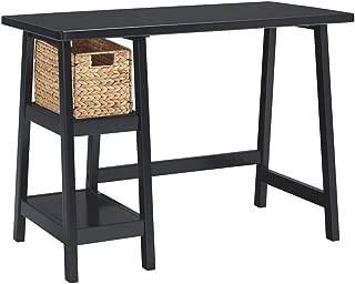 Ashley Furniture Signature Design - Mirimyn Small Home Office Desk - 2 Shelves - Includes Brown Basket - Black