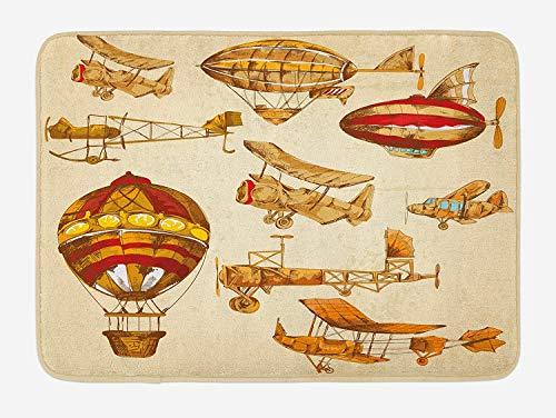 Casepillows Luchtbad Mat, Vintage Oude Vliegende Objecten Hot Baloons Planes Parachutes Print, Pluche Badkamer Decor Mat met Niet Slip Backing, 23,6 x 15,7 Inch, Zand Bruin Abrikoos Mosterd Rood