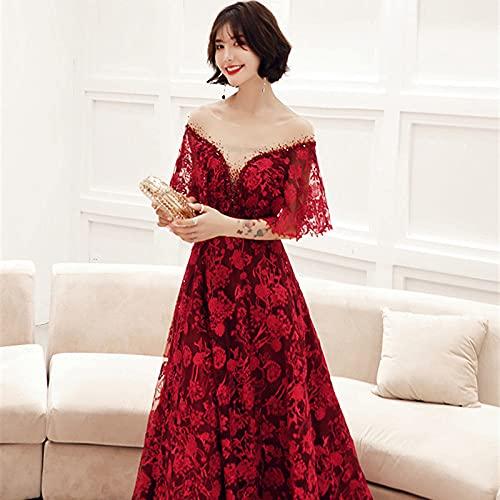 SHENSHI Vestidos De Cóctel para Mujer,Vestido Sexy con Cordones Y Bordado Real De Cristal con Cuello En V, Rojo Vino, 6
