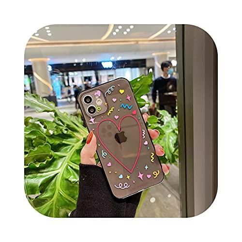 Carcasa transparente para iPhone 12 11 Pro Max MINI XS XR X 8 7 Plus SE 2020 Polka Dot Love Heart Clear Back Cover Case Negro - Para iPhone 12 Pro