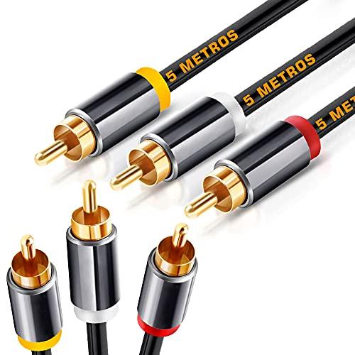 Cable RCA de 5 metros, Cable 3 RCA a 3 RCA con Sonido HiFi Estéreo, Vídeo, Cable Compatible con Amplificador, Subwoofer Home Cinema, Altavoz, Reproductor de CD/DVD, HDTV, Mesa de Mezclas, 5 Metros
