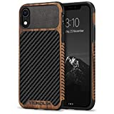 TENDLIN Compatible with iPhone XR Case Wood Grain with Carbon Fiber Texture Design Leather Hybrid Slim Case Compatible with iPhone XR (Carbon & Leather & Wood)