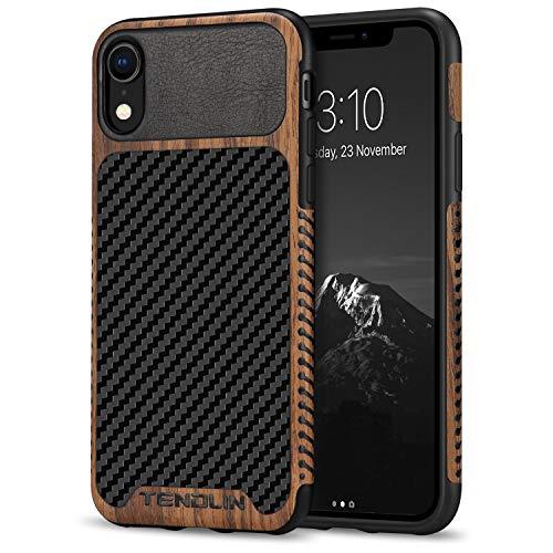 TENDLIN Funda iPhone XR Grano de Madera con Cuero de Fibra de Carbono y Silicona TPU Híbrido Suave Funda Compatible con iPhone XR