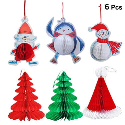Toyvian Weihnachtsmann Schneemann hängende Papier Dekoration für Weihnachten Pack von 6 Stück