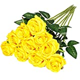 Nubry Flor de Rosa de Seda Artificial de un Solo Tallo de Rosa Falsa para el Ramo de Bodas Arreglos Florales Decoración del Centro de Mesa para Fiestas en casa, 10pcs (Amarillo)