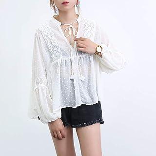ZR 2018夏季新款度假风刺绣蕾丝薄纱宽松领口系带上衣T恤女