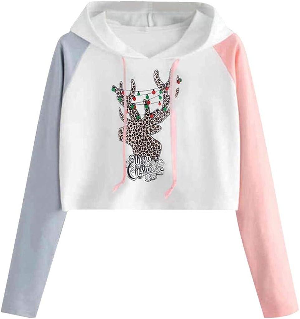 Girl's Hoodie, Misaky Christmas Reindeer Print Colorblock Long Sleeve Casual Pullover Hooded Sweatshirt Cropped Tops