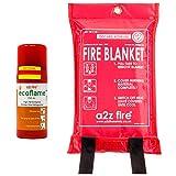 Manta ignífuga y extintor de Incendios para el hogar, Kit de Cocina, Seguro para Chip Pan Fires – Libre de Mantenimiento