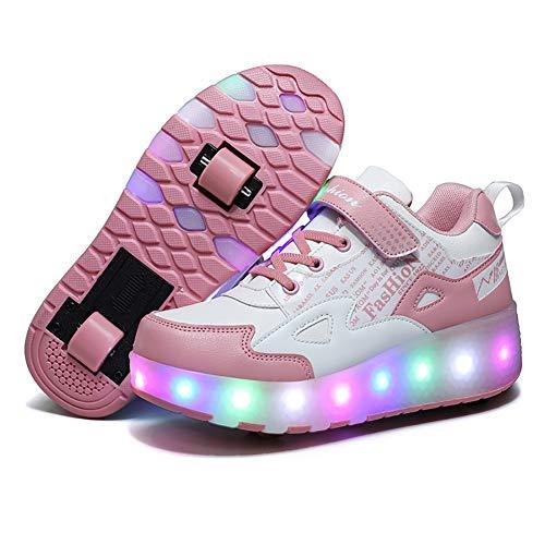 XJBHD Niños Niñas LED Zapatillas con Luces Ruedas Automática Retráctiles Ruedas Zapatos de Skate Roller con USB Recargable Deportivos Zapatos Luminosas Flash Patines Sneaker