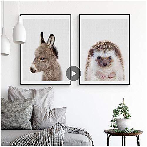 MULMF kleine dieren kunstaffiches en prints ezel muurkunst canvas schilderij egels muurschilderingen voor woonkamer wooncultuur - 50X70Cmx2 niet ingelijst