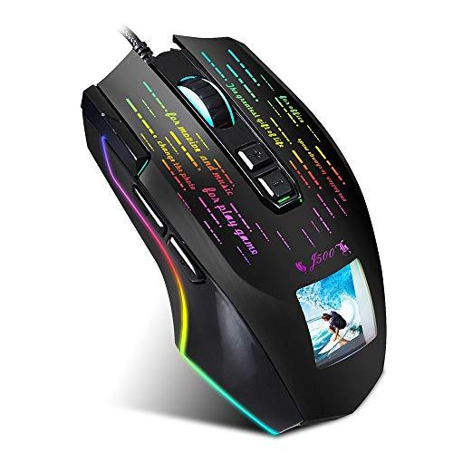 HBBOOI J500 Display-Gaming Makro-Maus, frei eingestellte Bild Mäuse 6-Gang Einstellbare DPI-Maus for Gaming PC Laptop