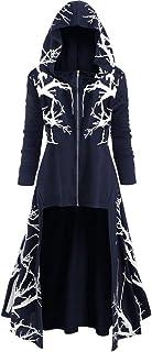 Women's Hoodie Dress Long Sleeves Retro Hooded Robe Cloak Dresses Medieval Renaissance Stylish Monk Knight Dresses Hallowe...