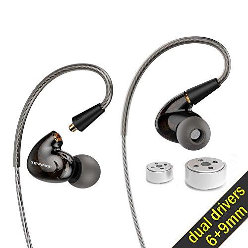 Tennmak Pro Dual Dynamic Driver Detachable Sport Earhook Detachable in Ear Earphones, MMCX Earphone with 4 Drivers (Black NO MIC)