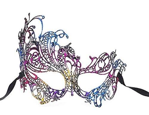 Lace Masquerade Ball Mask Venetian Swan Mardi Gras Halloween Costume Party Mask (A Rainbow Swan)