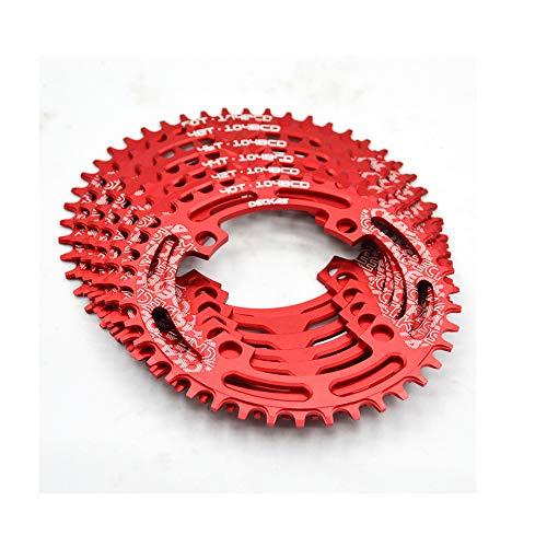 DECKAS Mountainbike-Kettenrad MTB Fahrrad Kurbelgarnitur Aluminium 104BCD runde Platte 40T/42T/44T/46T/48T/50T/52T Kettenblatt-Kurbelgarnitur, rot, 44T