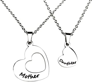 Mom And Daughter Necklace Set For 2 Heart Stainless Steel Cheap Personalised