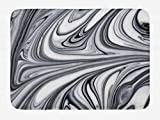 Ambesonne Abstract Bath Mat, Mix of White and Black Hallucinatory and Surreal Liquid Marble Graphic Artwork, Plush Bathroom Decor Mat with Non Slip Backing, 29.5' X 17.5', Grey
