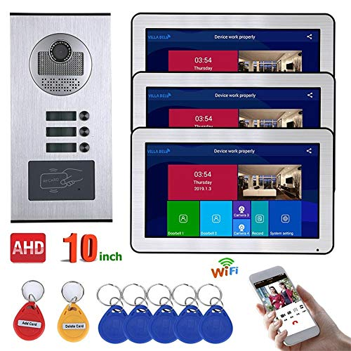 Best Prices! 10 inch Video Door Phone Intercom System, 3 Apartments Wired WiFi 720P HD Waterproof RF...