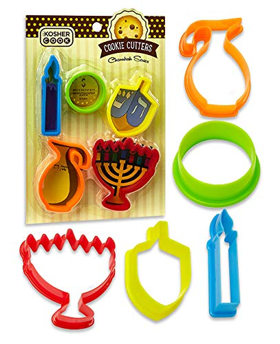 Chanukah Cookie Cutter Set – 5 Pieces – Menorah, Dreidel, Oil Jug, Chanuka Gelt and Candle Shaped Plastic Cutters - Chanukah Cookware and Bakeware by The Kosher Cook