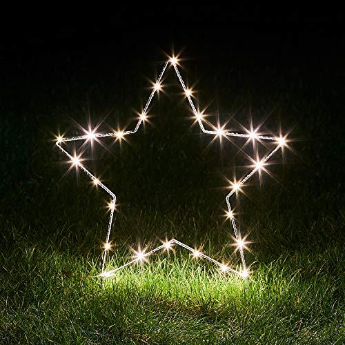 Lights4fun 25er Micro LED Osby Stern mit Timer warmweiß Batteriebetrieben Außen & Innen